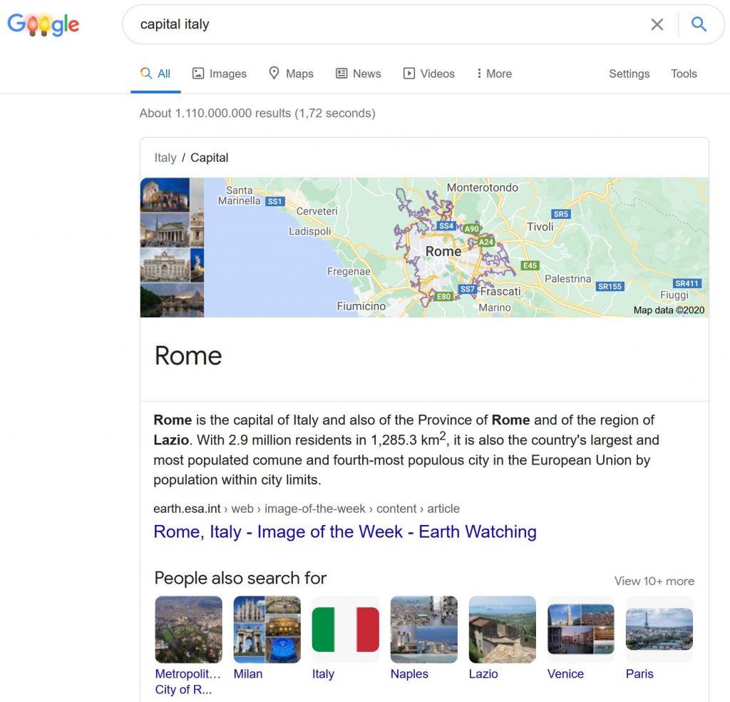 Glossary: Zero Click Searches - Knowledge Panel