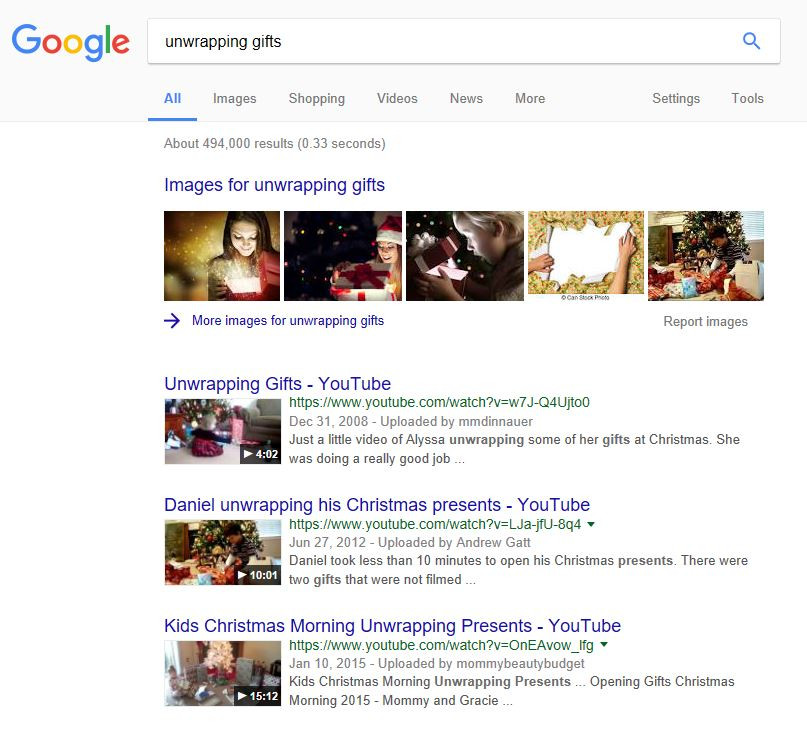 Searchmetrics Glossary: Universal Search - Example Videos