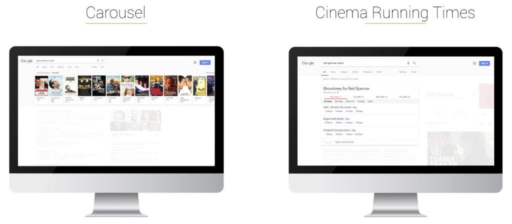 Searchmetrics Glossary: Universal Search - Example Carousel & Cinema Times