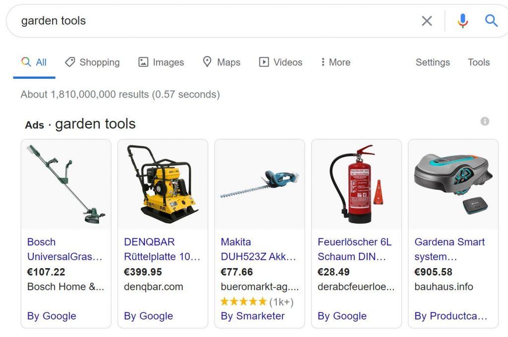 Searchmetrics Glossary: Google Shopping - Example 'Garden tools'