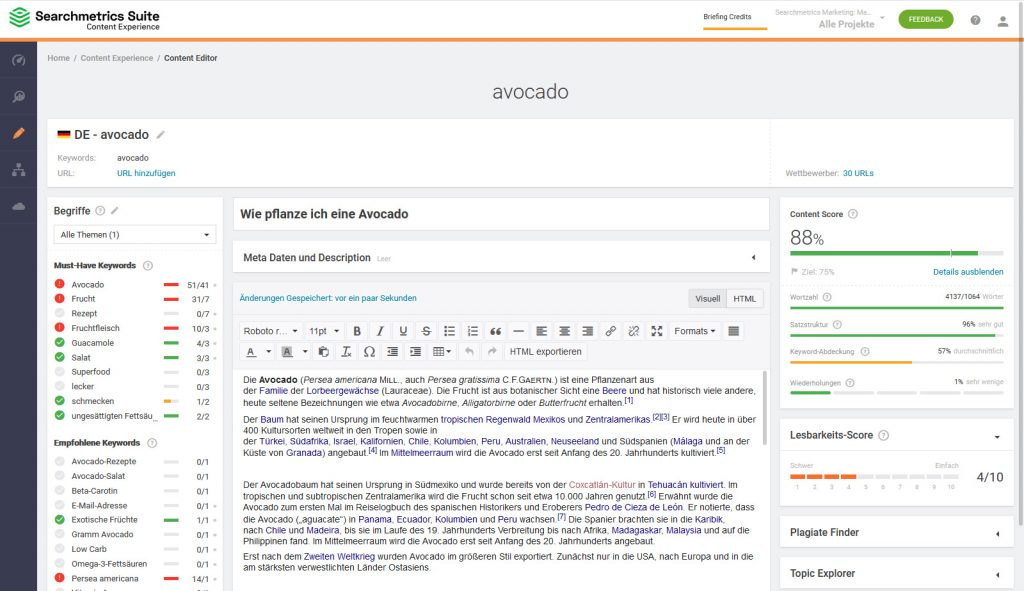 Glossar: Content Editor in der Searchmetrics Content Experience