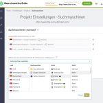 Searchmetrics Glossar: SEO Visibility - Projekt-Einstellungen Suchmaschinen