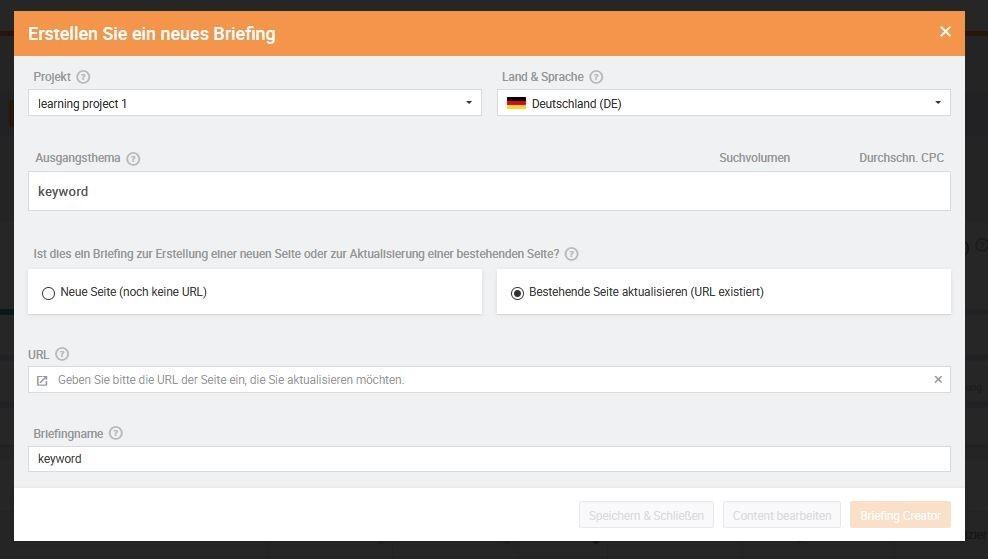 Searchmetrics Glossar: Erstellen Sie ein neues Briefing