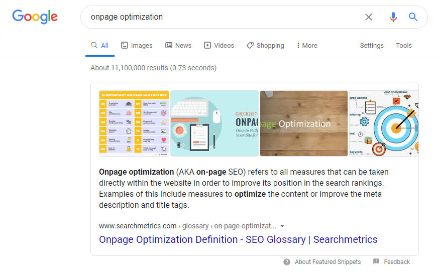 Searchmetrics Glossar: Direct Answers - Bsp. Onpage Optimization