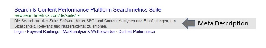Searchmetrics Glossar: Glossar Meta Description