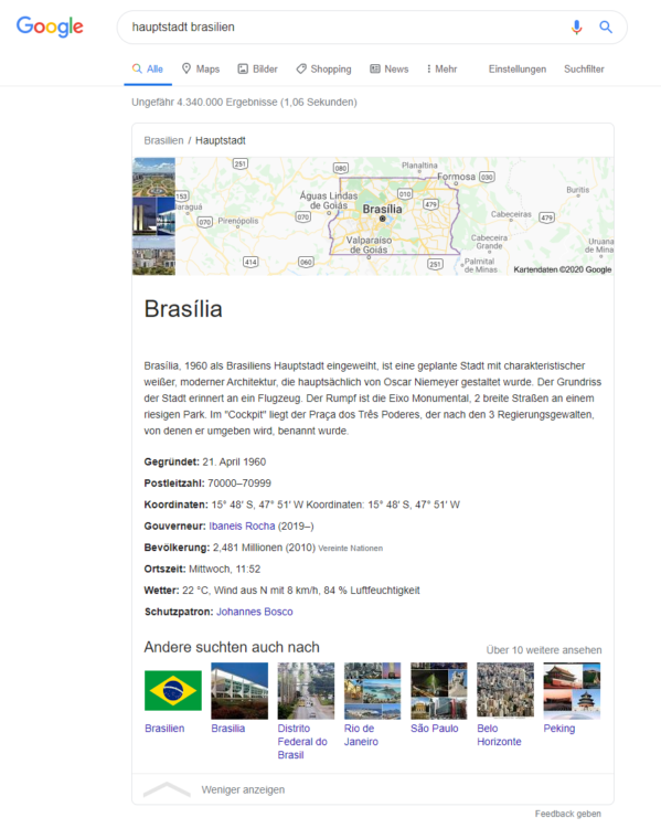 Searchmetrics Glossar: Zero Clicks Searches Bsp. Suchanfrage Brasilien