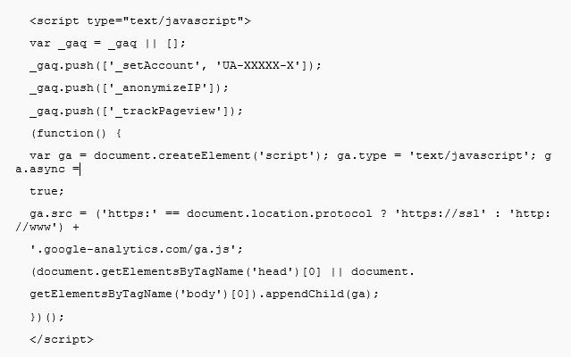Searchmetrics Glossar: Google Analytics Code Snippet
