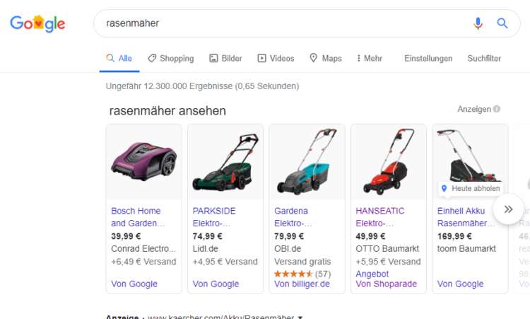 Searchmetrics Glossar: Google Shopping Beispiel Rasenmäher