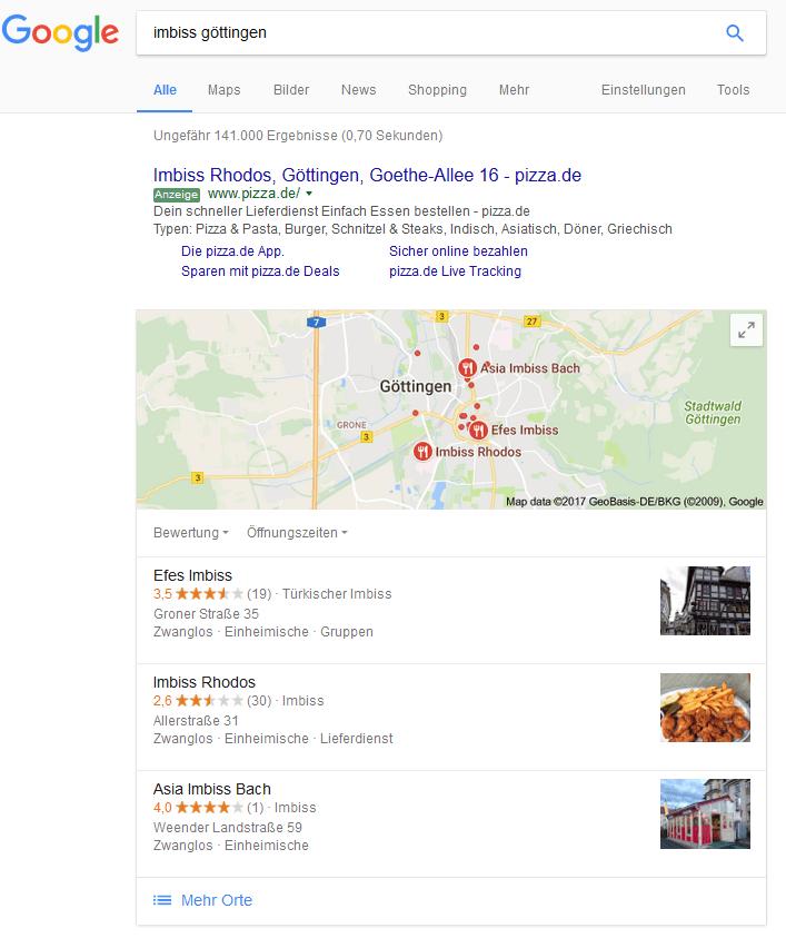 Searchmetrics Glossar: Universal Search - Beispiel Maps