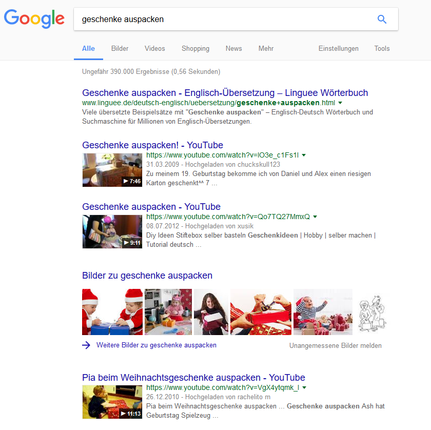 Searchmetrics Glossar: Universal Search - Beispiel Videos