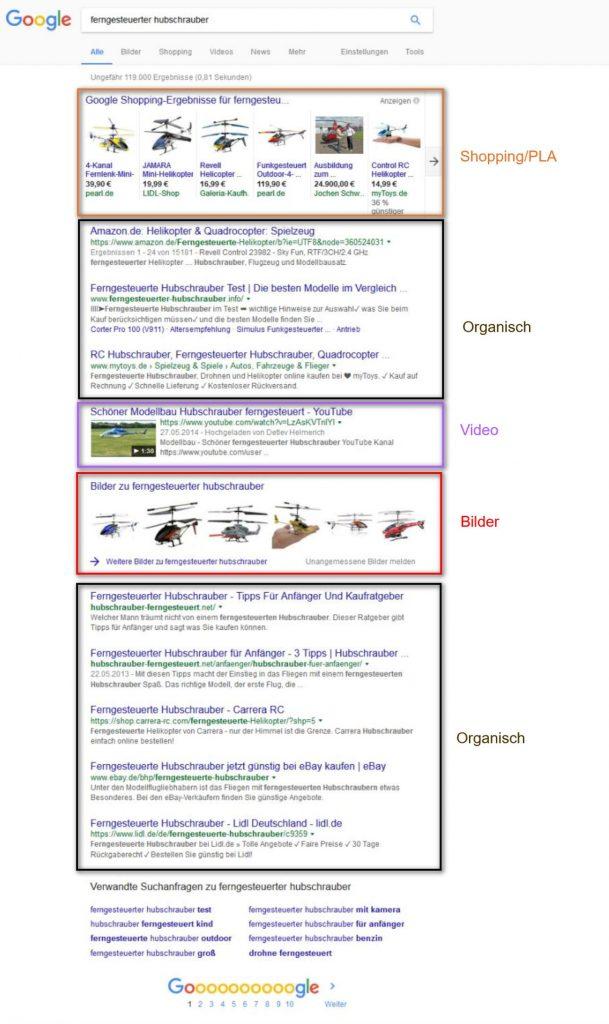 Searchmetrics Glossar: Universal Search - Beispiel Suchanfrage Hubschrauber