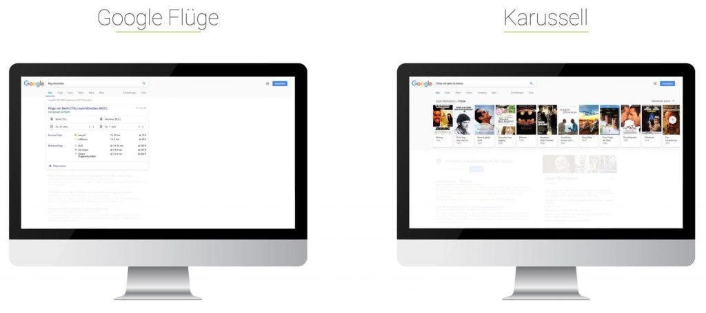 Searchmetrics Glossar: Universal Search - Beispiel Google Flüge - Karusell