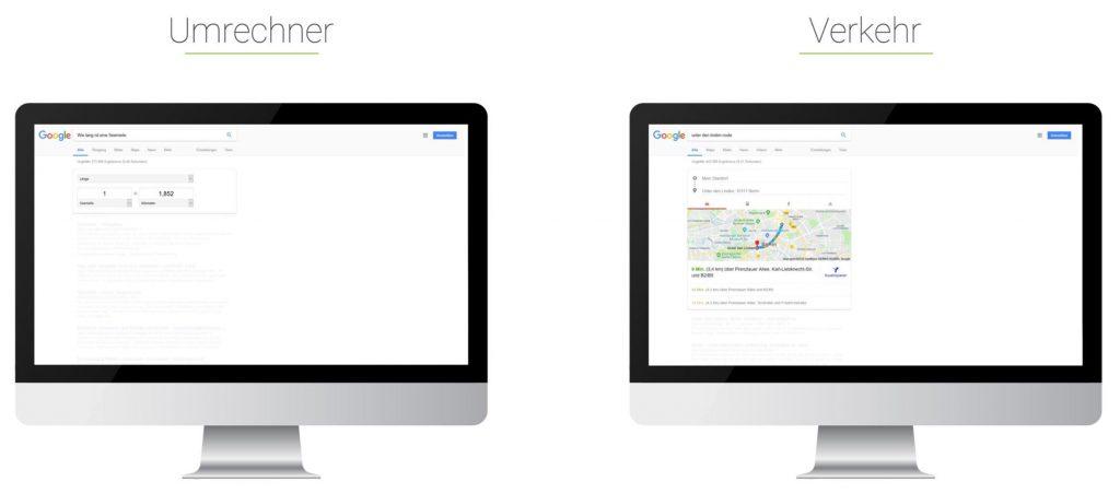 Searchmetrics Glossar: Universal Search - Beispiel Umrechner - Verkehr